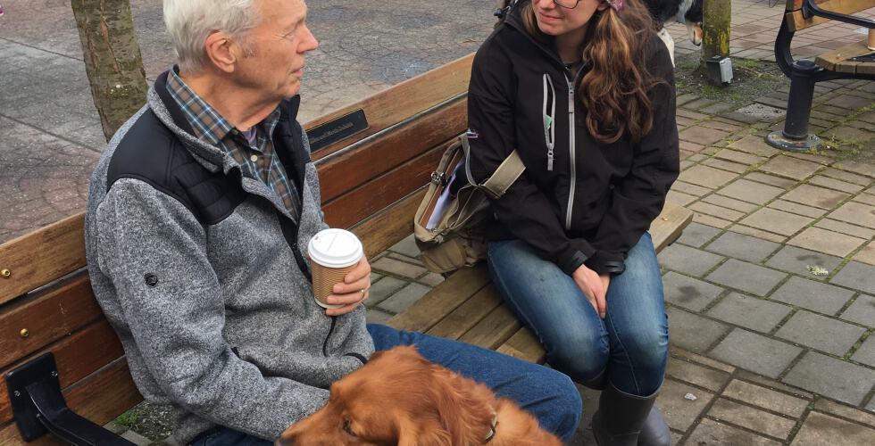 Cowichan Reporter Jacqueline Ronson chats at the Duncan Farmers Market.