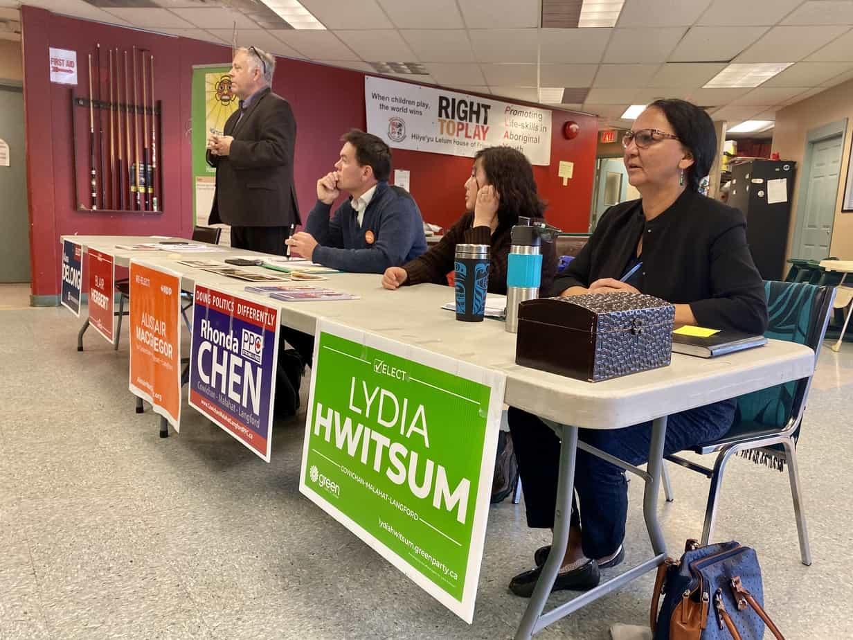 Cowichan-Malahat-Langford candidates speak at a forum at Hiiye'yu Lelum (House of Friendship) in Duncan. Jacqueline Ronson/The Discourse Cowichan