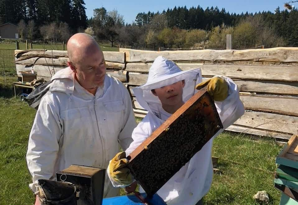 Ian Low and his son inspect a hive. Photo submitted by Ian Low